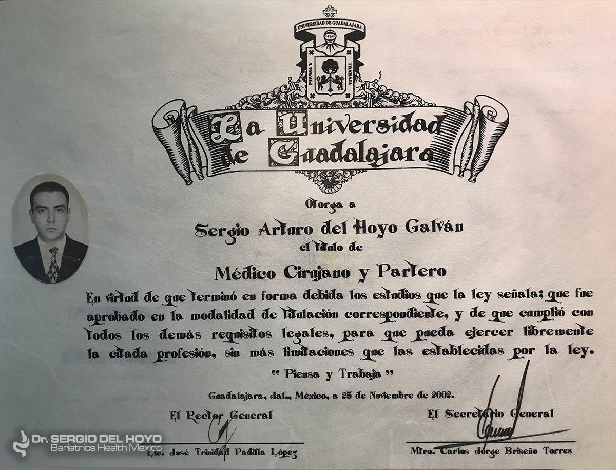 diploma Dr. Sergio Bariatric Surgeon